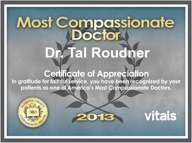 2013 Most Compassionate Doctor Award presented to Dr. Tal Roudner