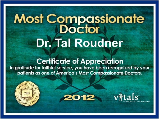 Most Compassionate Doctor Award for 2012 presented to Dr. Tal Roudner